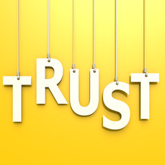 Trust word in yellow background