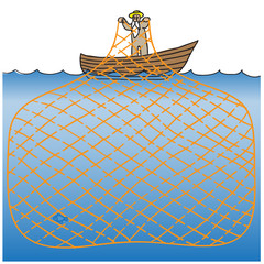 Maze game fisherman. vector illustration