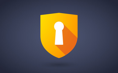 Long shadow shield icon with a key hole