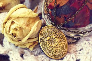 vintage bronze locket  close up