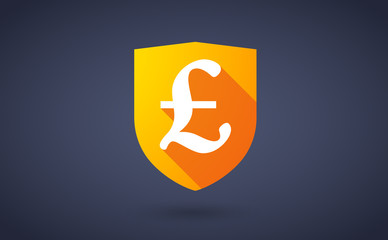 Long shadow shield icon with a currency sign
