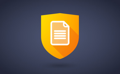 Long shadow shield icon with a document