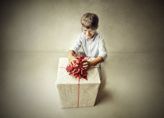 Boy with a big gift