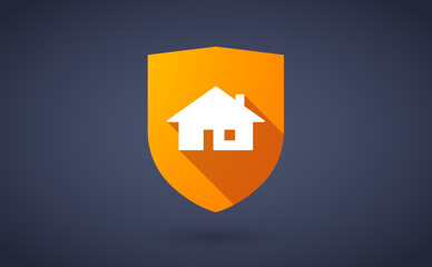 Long shadow shield icon with a house