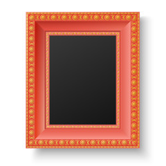 Red wooden frame with gold patterns for picture or text