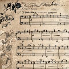 Vintage  Background. Vintage Paper. Music Sheet.