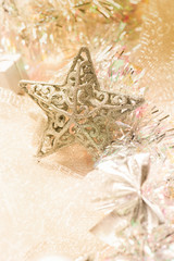silver star christmas decorations background