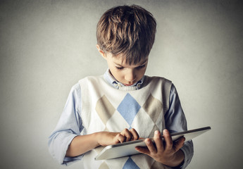 Little kid with a tablet