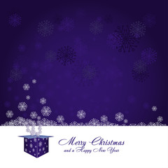 Blue christmas background with snowflakes, vector illustration