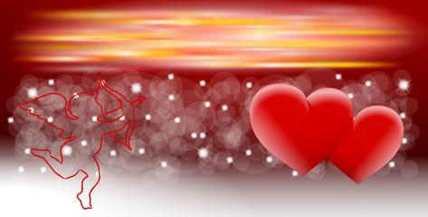 tło 2014 dwa serca i kupidyn