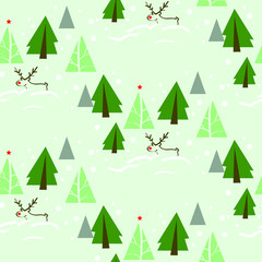 Reindeer in Fir Tree Forest Seamless Pattern