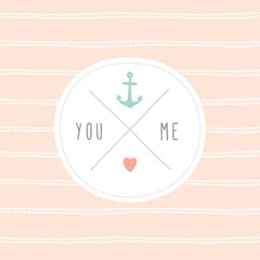 Anchor wedding invitation template.