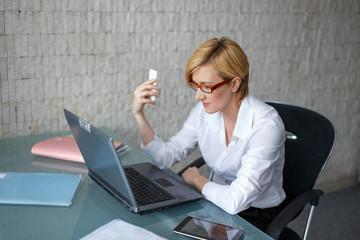 Businesswoman in office working