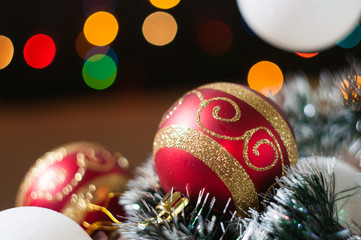 New Year's and Christmas balls on the background bokeh