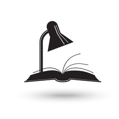 Reading lamp and book. Library and learning symbol
