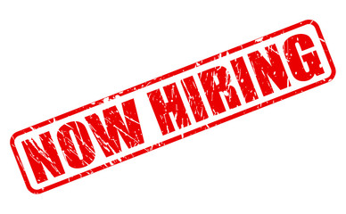 Now hiring red stamp text