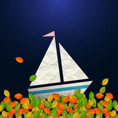 Autumnal concept - sailboat and leaves