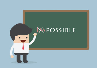 Businessman changing the word impossible into possible, Motivati