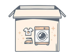 Vector illustration of open box with icon of  washing machine on
