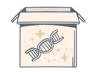 Vector illustration of open box with icon of dna molecule chain