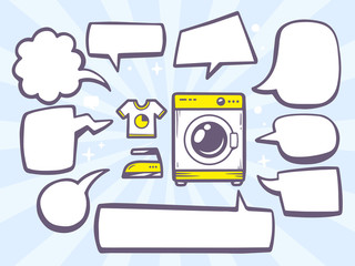 Vector illustration of washing machine with comics bubbles on bl