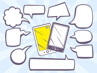 Vector illustration of phones with comics bubbles on blue backgr
