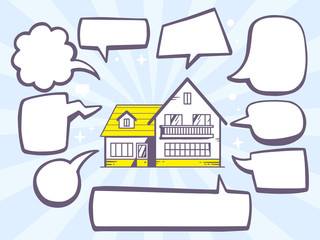 Vector illustration of house with speech comics bubbles on blue