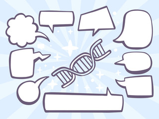 Vector illustration of dna molecule chain with speech comics bub