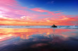 sopelana beach at sunset with clouds reflections