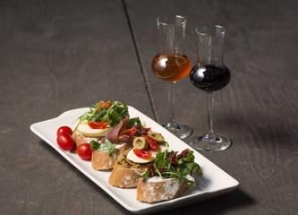 Appetizers with aperitif drinks