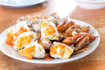 Steamed crab on dish ready eat