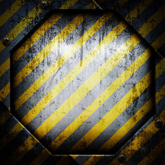 old metal background with yellow stripes