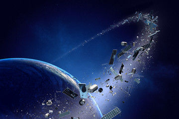 Space junk (pollution) orbiting earth