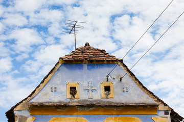 Roof of typical saxon house  in transsylvania Romania