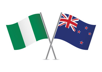 Nigerian and New Zealand flags. Vector illustration.