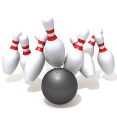 Bowling pins hit by ball
