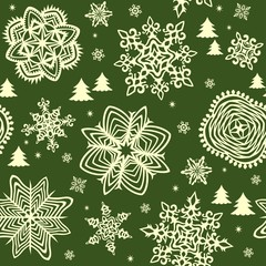 Seamless green background with golden winter print