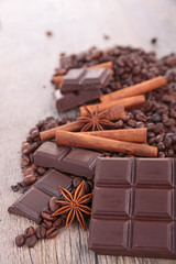 chocolate,coffee bean and ingredients