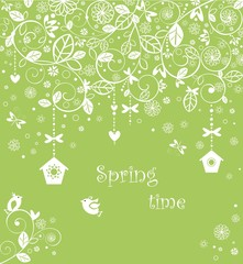 Spring lacy card with funny little birds