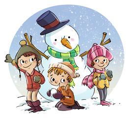niños con muñeco de nieve