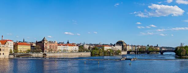 Prague Stare Mesto embankment panorama from Charles bridge