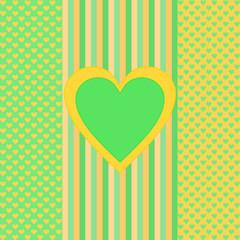 Grüne orange Streifen, kleine Herzen, großes Herz in der Mitte