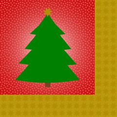 Grüner Tannenbaum auf rot mit Sternenkante