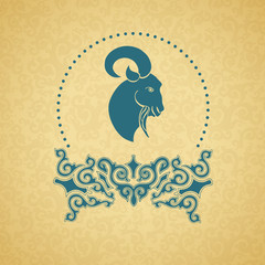 Blue ornament, a goat. Golden background.