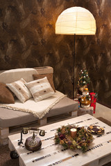 Interior of living room with Christmas decorations