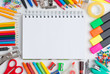 Blank notebook with colourful crayons - 73727159