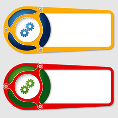 set of two boxes for entering text with cogwheels