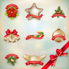 Christmas decor Objects collection. EPS 10
