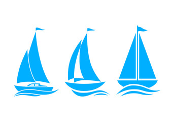 Blue sailboat icons on white background