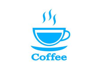 Blue coffee icon on white background